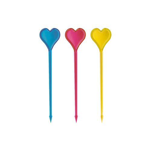 "Partypicker, PS 8,5 cm farbig sortiert ""Herz"" - Bild 1"